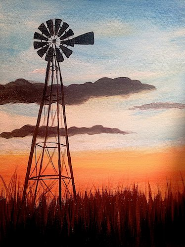 """Windmill""  Note: This class is $45 per person, please allow 2.5 hours of painting time."